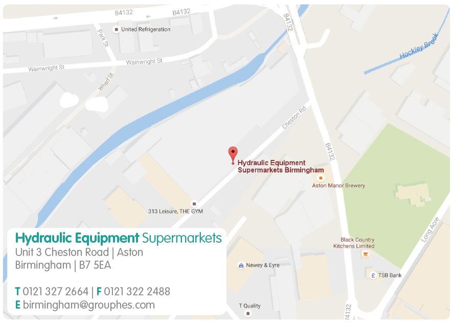 Birmingham Map Hydraulic Equipment Supermarkets